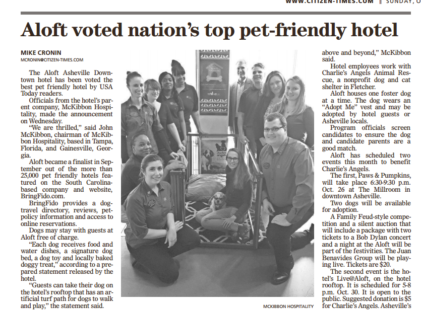 Aloft Asheville Downtown Voted The Nation S Top Pet Friendly Hotel